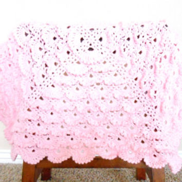 Pink Crochet Baby Blanket - Baby Shower Gift for Girls - Crochet Pink Baby Aghan - Crochet Stroller Blanket - Photo Prop for Newborn Girls