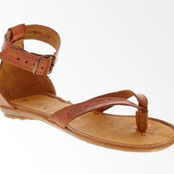 Women's Elegant Genuine Soft Leather Strappy Thong Sandals - Brown