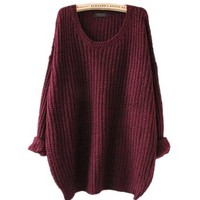 ARJOSA® Women's Fashion Oversized Knitted Crewneck Casual Pullovers Sweater (#1 Wine Red)