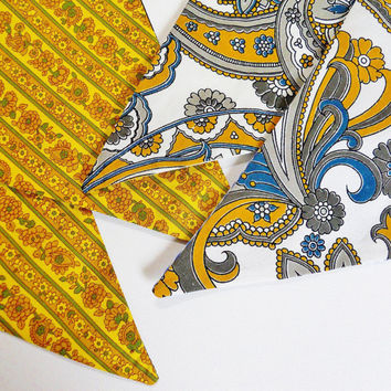 Retro Mustard and Grey 70s Vintage Fabric Funky bunting