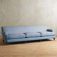 Linen Willoughby Grand Sofa, Hickory by Anthropologie