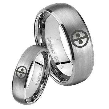 His Her Satin Silver Dome Dead Pool Tungsten Carbide Wedding Rings Set