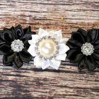 Glitzy Black and White Satin Black and White Rhinestone Headband!
