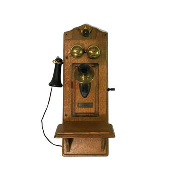 1920s North Electric Wall Telephone, Vintage Oak Hanging Phone, Antique Home Decor