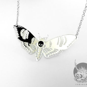 Deaths Head Mirror Moth necklace - Mini
