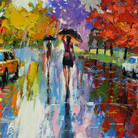 Autumn kaleidoscope 2 - OIL PALETTE KNIFE Painting on canvas by Dmitry Spiros. 36x28 in. (90 x 70 cm)