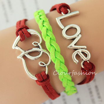 Graduation Gift, Fashion Charm Bracelet, Silver ''LOVE'' double Heart Charm, Green Cords, Braid Leather, Silver Jewelry, Personalized