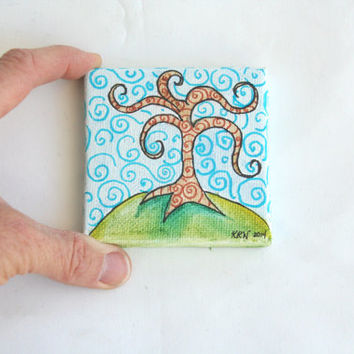 """Miniature Original Painting on Canvas 3"""" x 3"""" for Doll House 'Swirling Tree'"""