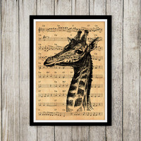 Animal print Giraffe poster Music notes art Old paper print NP143