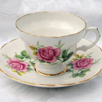 CLARE English Bone China Pink Rose Tea Cup and Saucer