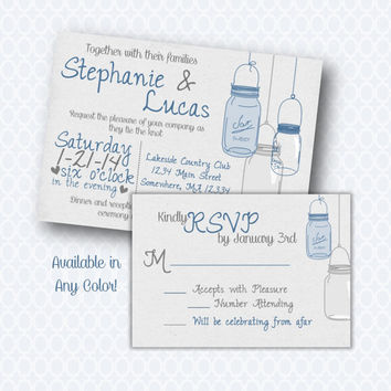 Mason Jar Rustic Printable or printed Wedding Invitation Set with RSVP. Customaizable Wedding Invitation.  Blue Gray.  DIY Wedding Invite.