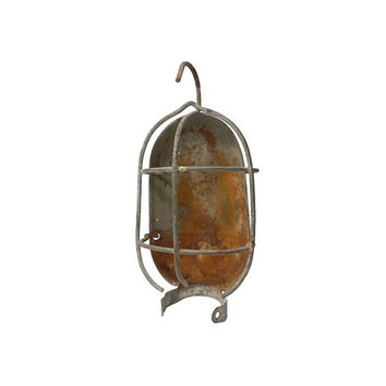 Industrial Wire Cage Light Guard Hanging Work Lamp Parts Salvage Rust Metal Assemblage Steampunk Wall Art Decor Repurpose Farmhouse Lighting