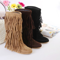 New Hot Women's Mid Calf Tassels Boots Flat Heel Shoes Fringes US All Size F016