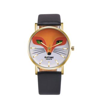 Fashion Watch Women Dress Quartz Watches Retro Cartoon Fox Design PU Leather Band Analog Wrist Watch Relogio Feminino