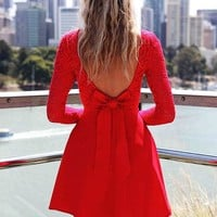 Cute Bow Long Sleeve Low Back Dress - Lace Long Sleeve Low Back Dress