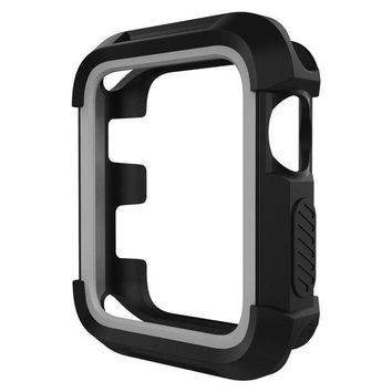 VONEF3L UMTELE Rugged Apple Watch Case 38mm, Shock Proof Bumper Cover Scratch Resistant Protective Case for Apple Series 3, Series 2, Series 1, Black/Grey