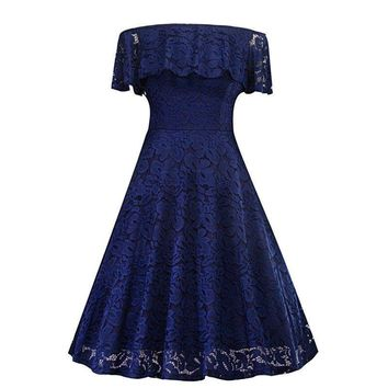 Boat Neck lace short dark blue Bridesmaid dresses wedding party dress gown prom fashion women clothing