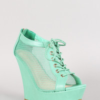 Bamboo Pamela-49 Lace Up Mesh Peep Toe Wedge Bootie