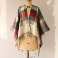 RED / GRAY PLAID SWEATER PONCHO