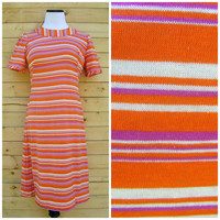 Mod Striped 60s Dress Orange Purple Mini Short Sleeve Knit Jersey Size S/M Small Medium Hippie Boho 1960s Twiggy Dresses Retro Handmade OOAK