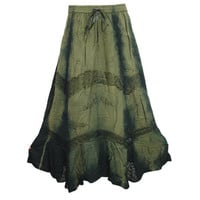 Mogulinterior Vintage Hippie Skirt Green Stonewashed Summer Fashion Boho Gypsy Maxi Skirts