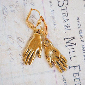 Gold Hand Earrings,Frida Kahlo Hand Earrings,Frida Kahlo Earrings,Hand Jewelry,Whimsical Earrings,Bohemian,Horror Macabre,Costume Halloween
