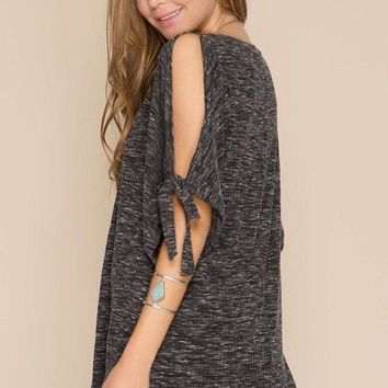 Cold Shoulder Bow Top - Charcoal