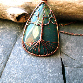 Wire Wrapped Bloodstone Pendant, Tree of Life Jewelry, Wire Weaved Aged Copper on Red Copper Chain, Yggdrasil Necklace, UK made Jewellery