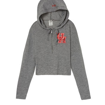 University Of Houston Varsity Cropped Half-Zip Hoodie - PINK - Victoria's Secret