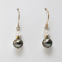 Gray Pearl Earrings / Gold Filled Pearl Drop Earrings / Gray Earrings / Luxury Earrings / Pearl Jewelry / Pearl Earrings Gold / Gift for Her