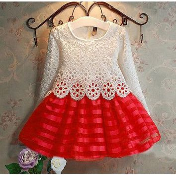 3-8Y Toddler Baby Girls Kids Tutu Crochet Lace Dress Long Sleeve Princess Dress Girls Clothes