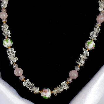 Vintage Glass Necklace Pink Gold White Hand Painted