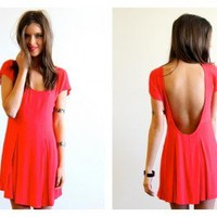 Red Scoop Back Short Sleeve Dress