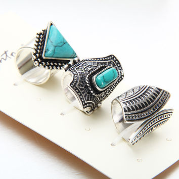 Punk Stone Rings 3 PCS Ring Set