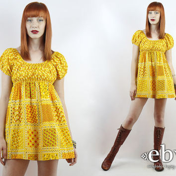 Vintage 70s Yellow Puff Sleeve Floral Mini Dress XS S Babydoll Dress Hippie Dress Summer Dress Calico Dress Yellow Dress Patchwork Dress