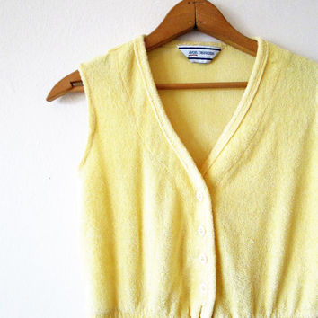 Vintage 1980s Yellow Terry Cloth Avon Fashions Romper Sz S