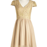 ModCloth Long Cap Sleeves A-line A Vision of Elegance Dress