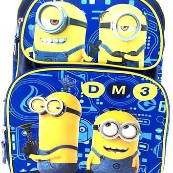 "Minions Despicable Me 3 Boys 16"" Blue DM3 School Large Backpack"
