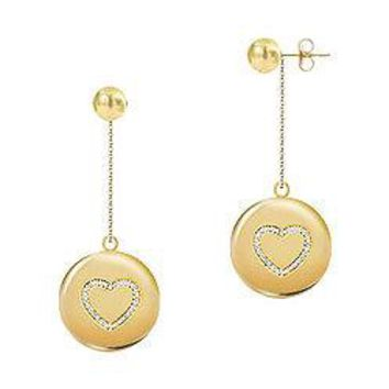 Diamond Heart Disc Earrings : 14K Yellow Gold - 0.33 CT Diamonds
