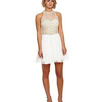Sequin Hearts Illusion Lace Dress - Gold