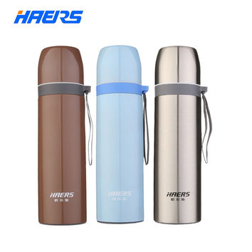 Haers Metal Thermos 500ml Durable 18/8 Stainless Steel Thermal Bottle Insulated Portable Coffee Thermos Water Bottle LB-500-13