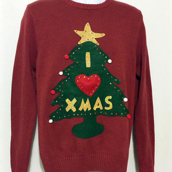 Ugly Christmas Sweater, Grinch Sweater, Christmas Sweater, Ugly Sweater Party, Red Sweater, Medium, Item #3