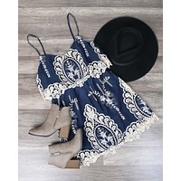 final sale - x shophearts - a hint of vintage lace navy & cream dress
