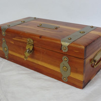 cedar wood storage box treasure chest container valet