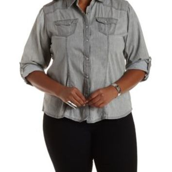Plus Size Collared Button-Up Denim