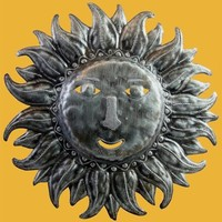Soleil Sun Recycled Metal Folk Art Wall Hanging 20.5H - 6747