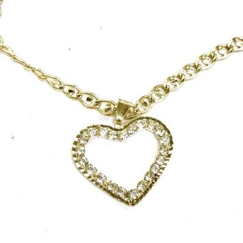 Cz Heart Charm and Necklace Gold Plated
