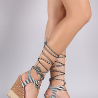 Qupid Canvas Stripe Rope Lace Up Platform Wedge