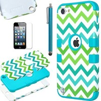 ULAK CPT5T_06 Colorful Series 3 in 1 Anti-Slip Soft Silicone Hybrid Dust Scratch Shock Resistance Case for iPod touch 5 - Green Wave/Blue
