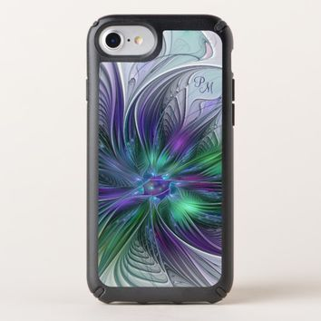 Purple Green Flower Abstract Art Fractal Monogram Speck iPhone Case